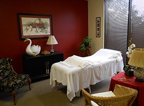 Deep warm colors & sunlight make this treatment room a client favorite - it is very private. Unlike massage, acupuncture can be done while you are fully clothed - we simply move the fabric aside to access the skin we need.